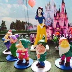 七個小矮人與白雪公主雕塑,卡通人物