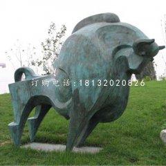 抽象牛雕塑,青銅開荒牛