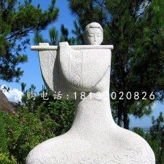 吹笛子雕塑,抽象古代美女雕塑