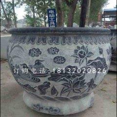 荷花石浮雕水盆,青石水缸
