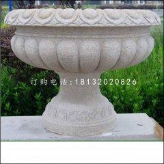 花钵石雕,公园石花盆