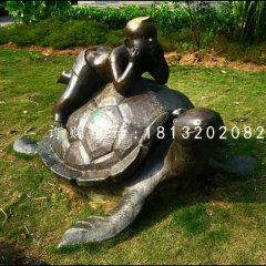 趴在乌龟上的小男孩铜雕,公园铜雕