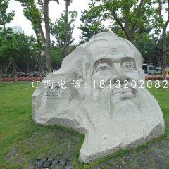 孔子頭像石雕,公園名人石雕