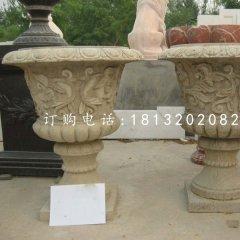 砂岩花盆,欧式花钵雕塑