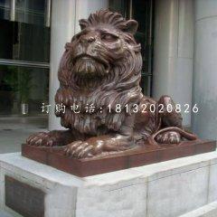趴著的西洋獅銅雕,銅獅子