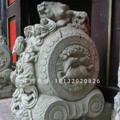 青石抱鼓石雕塑,仿古门墩