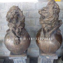 趴在球上的西洋獅銅雕,鑄銅獅子