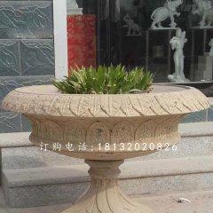 砂岩花盆雕塑,公园景观石雕
