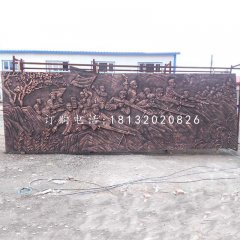 八路軍打仗銅浮雕,公園墻壁銅浮雕