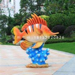 玻璃钢彩绘鱼和珊瑚,玻璃钢动物雕塑