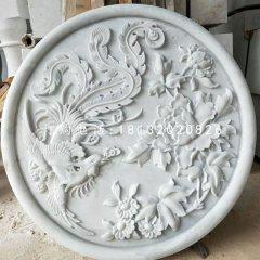 漢白玉鳳凰牡丹石浮雕墻壁石浮雕