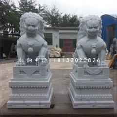 漢白玉看門獅子動物石雕