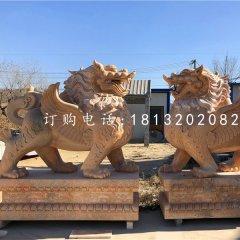 晚霞紅貔貅石雕 門口神獸雕塑