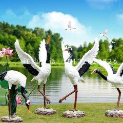 公园仙鹤雕塑玻璃钢仿真动物