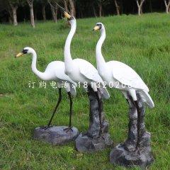 玻璃钢仿真丹顶鹤玻璃钢动物雕塑
