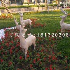 晚霞紅小鹿石雕小區動物雕塑