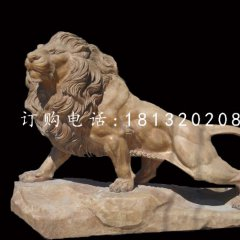 晚霞紅動物石雕廣場獅子雕塑