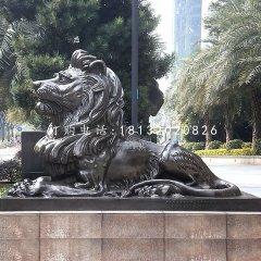 臥著的西洋獅銅雕看門獅子銅雕