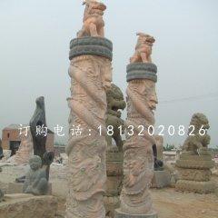 广场盘龙柱雕塑晚霞红龙柱石雕