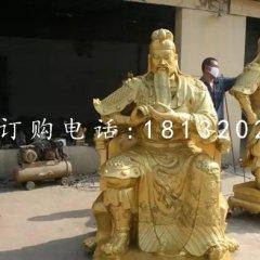 銅關公雕塑武財神銅雕