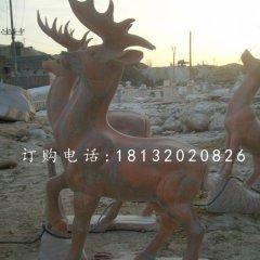 公園小鹿雕塑晚霞紅動物石雕
