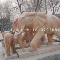 廣場大象石雕,晚霞紅大象