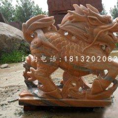 古代神獸石雕,晚霞紅麒麟雕塑
