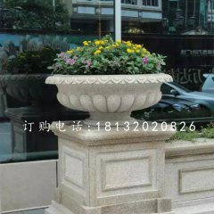砂岩花盆雕塑,景观石雕