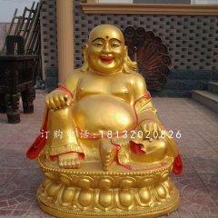 坐式彌勒佛雕塑,銅雕彩繪佛像