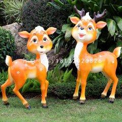 玻璃鋼卡通梅花鹿,公園卡通動物雕塑