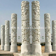 大理石凤凰浮雕石柱,广场石柱
