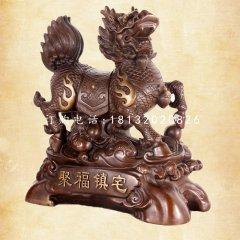 聚福鎮宅麒麟銅雕,門口麒麟銅雕
