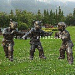 捉迷藏的儿童雕塑玻璃钢仿铜人物