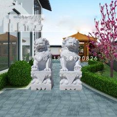 汉白玉看门狮子北京狮石雕