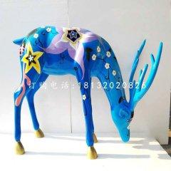 玻璃钢彩绘梅花鹿商场动物雕塑