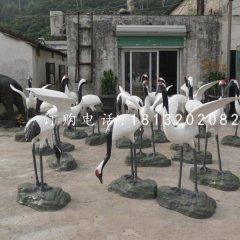 玻璃钢仙鹤公园仿真动物雕塑
