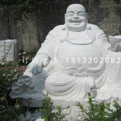 漢白玉拿元寶的彌勒佛,寺廟佛像石雕
