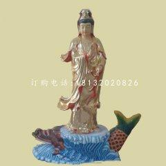 鳌鱼观音雕塑 玻璃钢彩绘佛像雕塑
