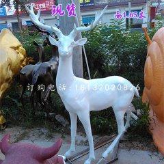 玻璃钢白色梅花鹿 公园动物雕塑