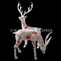 玻璃钢彩绘梅花鹿 公园动物雕塑