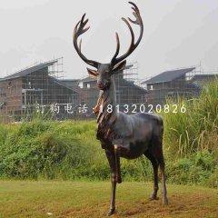 玻璃钢仿铜驯鹿 玻璃钢动物雕塑