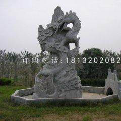 盘在山上的龙石雕,公园景观石雕