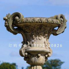 欧式花钵石雕 公园石雕花盆