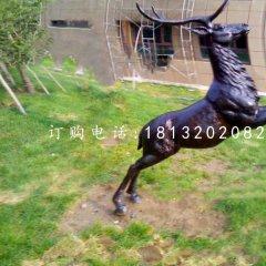 跳跃的鹿铜雕 公园动物铜雕