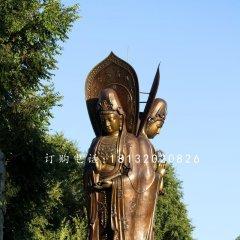 三面觀世音菩薩銅雕 立式佛像