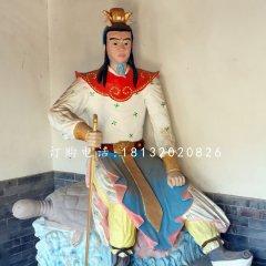 龙王三太子雕塑 玻璃钢彩绘人物