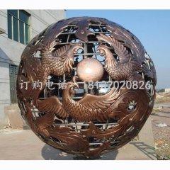 鳳凰銅浮雕球 鏤空球銅雕