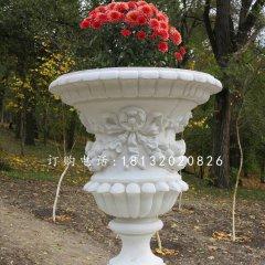 欧式花盆雕塑  汉白玉园林景观石雕