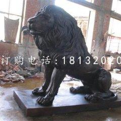 蹲着的西洋狮铜雕 银行门口铜狮子