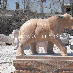 晚霞紅大象石雕 門口石雕大象